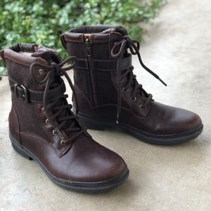 UGG Wool Brown Moto Biker Ankle Boots